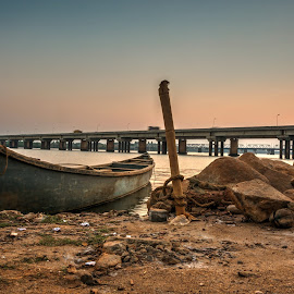 Tied boat by Balasubrahmanya Bhat - Transportation Boats ( waterscape, landscape, boat, evening, fishing boat )