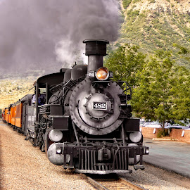 Pulling out of the station in Durango by Sandy Scott - Transportation Trains ( steam locomotive, durango colorado, narrow gauge railroad, railroad, antique trains, colorado, transportation, railway travel,  )