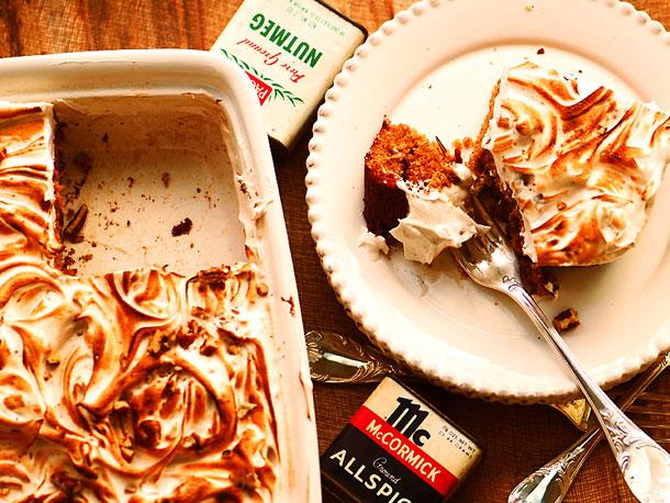 Sweet Potato Cake with Toasted Marshmallow Frosting Recipe | Yummly