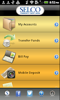 Screenshot of SELCO Mobile Banking App
