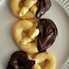 Chocolate Dipped Almond Pretzel Cookies