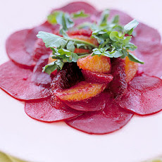 Thinly Sliced Beets with Blood Oranges and Watercress