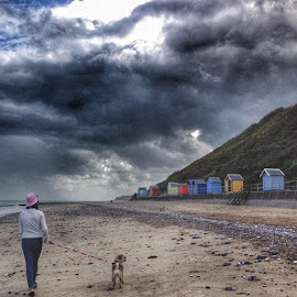by Audrey van Rensburg - Instagram & Mobile iPhone ( greatyarmouth, beachhuts, beach, huts, clouds, sky, sand, sea, dog, girl, walk, borderterriermixpug, bordersofinstagram, borderterriermix )