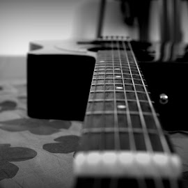 the old guitar by Arkadeb Kar - Novices Only Objects & Still Life ( black and white, guitar, cord,  )