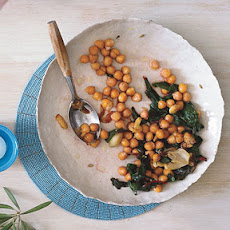 Roasted Garbanzo Beans and Garlic with Swiss Chard