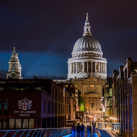 St Paul's from Millennium Bridge by Sheldon Anderson - Buildings & Architecture Public & Historical ( night photography, london, 2014, st paul's, dramatic, night, cathedral, scenic, bridge, nights capes, river )