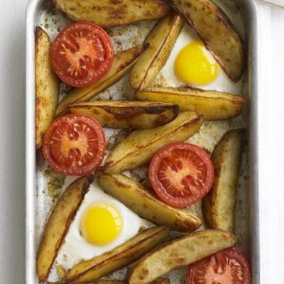 Oven-baked Egg & Chips
