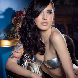 Kenzie Koch by Kerri Jean - Nudes & Boudoir Boudoir ( boudoir photography, lingerie, lighting, tattoos, boudoir, boudior, brunette, kenzie koch, metal bra, tattoo, sensual )