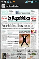 Screenshot of Italian newspapers