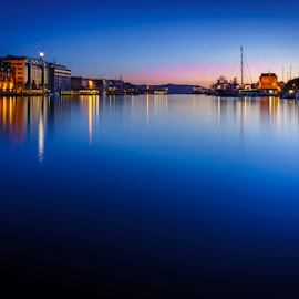 Bergen, Norway by Paulius Bruzdeilynas - City,  Street & Park  Night ( bergen, port, water, blue hour, bryggen, norway, fjord, lights, norwegian, sunset, night, norge, ciity, Urban, City, Lifestyle )