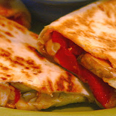 Chicken and Mixed Vegetable Quesadillas with Artichokes, Mushrooms, and Roasted Red Peppers