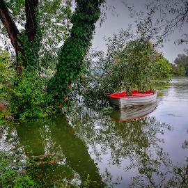 Boat by Oliver Švob - Instagram & Mobile Android ( sony, water, sony xperia, korana, instagram, karlovac, tree, boat, mobile, river,  )