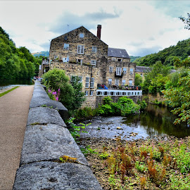 Walking along hebden canal by Nic Scott - Buildings & Architecture Homes ( water, canal )