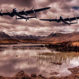 Lancasters by Sam Smith - Digital Art Places ( scotland, aviation, lancasters, rannoch moor, warbirds, highlands, airshow )