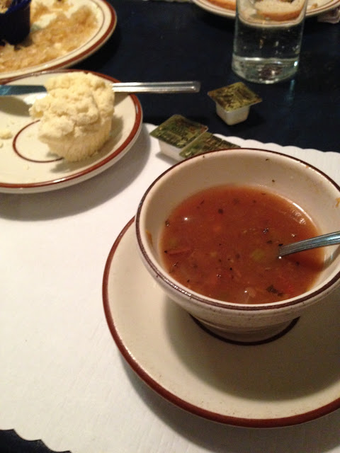 Beef vegetable soup and gluten free roll