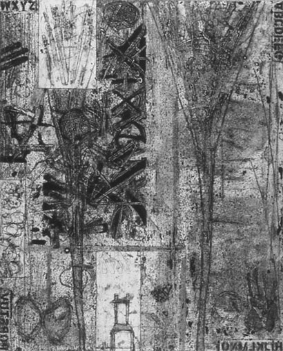 """<p> <strong>Oracle</strong><br /> Collagraph on Stonehenge White<br /> 46"""" x 36 3/4"""" paper<br /> 40"""" x 32"""" image<br /> Edition: 3<br /> 1992<br /> Private collection, West Vancouver<br /> Canada Council Art Bank, Ottawa</p>"""