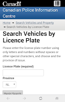 Screenshot of Stolen Vehicle Check Canada