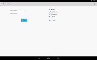 Screenshot of Math Tables