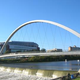 Walking Bridge over the Des Moines River by Linda McCormick - Buildings & Architecture Bridges & Suspended Structures ( water, walking bridge, suspended, des moines, river )