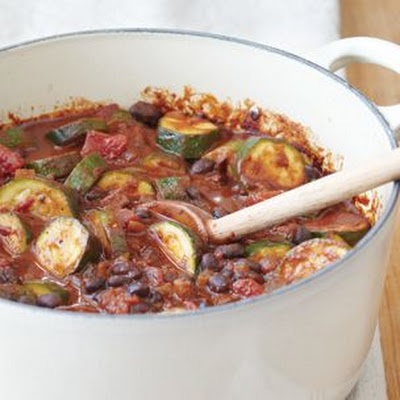 Mole-Style Chili with Black Beans and Andouille