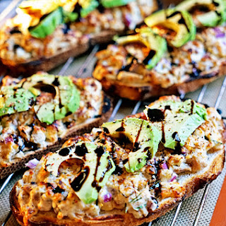 Open Faced Gruyere Chicken Melt with Avocado and Balsamic Syrup