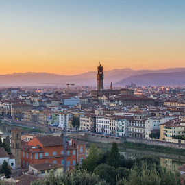 Florence Sunset by Michael Strier - City,  Street & Park  Skylines ( florence, sunset, cityscape, italy )