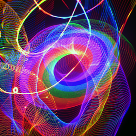 Glowing donut  by Jim Barton - Abstract Patterns ( laser light, colorful, light design, donut, glowing donut, laser design, laser, laser light show, light, science )