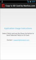 Screenshot of Copy to SD Card
