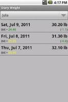 Screenshot of Diary Weight