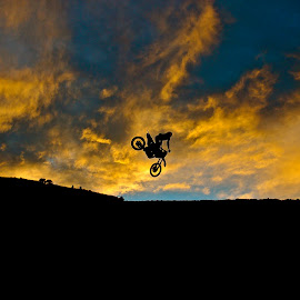 Playing At Sunset by Zachary Zygowicz - Sports & Fitness Motorsports ( sweet, motocross, sunset, dirtbike, whip )