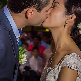 You May Now Kiss The Bride by Steve Francis Quiatchon - Wedding Bride & Groom ( love, kissing, wedding, boracay, bride and groom, garden, philippines )
