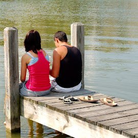 Young Love by Philip Molyneux - People Couples ( water, love, teen, pier, couple, young )