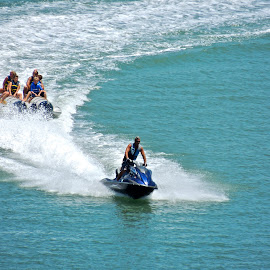 Jet Ski Fun by Eve Spring - Sports & Fitness Watersports ( water, jet ski, ocean, beach, tubing )