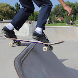 Going Down Hill by Shawn Taylor - Sports & Fitness Skateboarding ( skateboarding, skate, guy, falling, skateboard )