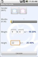 Screenshot of Baby Percentile