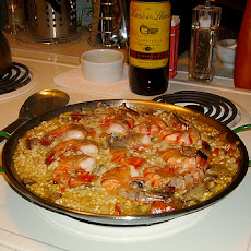Autumn Paella With Chicken, Sausage, Shrimp, and Olives