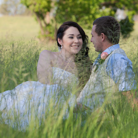Romance by Lodewyk W Goosen-Photography - Wedding Bride & Groom ( love, grass, green, wedding, trees, bride, marriage, groom, romance, together )