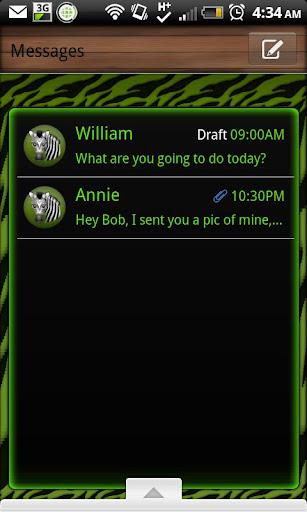 GO SMS - Green Zebra 3D