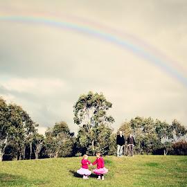 Rainbow over Field by Alan Evans - People Family ( field, geelong, family, aj photography, rainbow )