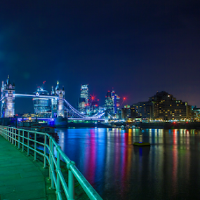 London by Sorin Bogdan - City,  Street & Park  Skylines ( lights, skyline, reflection, tower, london, colors, bridge )