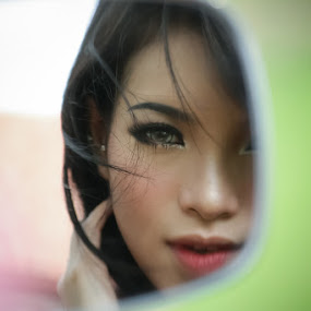 Rearview mirror Lover by Andrie Bastian - People Portraits of Women ( people, women,  )