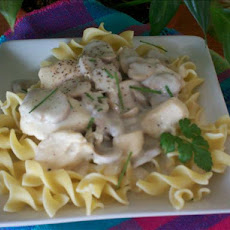 Chicken & Cream of Mushroom over Egg Noodles