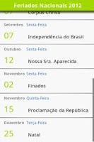 Screenshot of Brazilian Holidays Cal. 2014