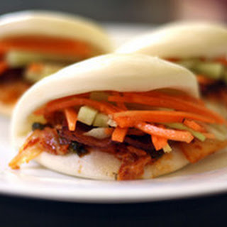 Bacon and Kimchi Steamed Buns with Carrot and Cucumber Slaw