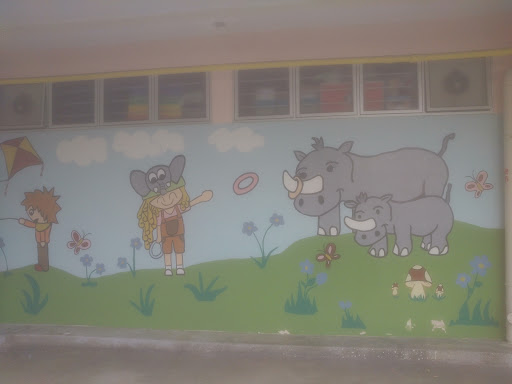 Kids with Animals Mural