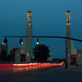 trail of light by Anju Duley - Novices Only Abstract ( traffic, highway, trail, signal, road, bridge, red light )