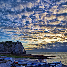 Etretat XIV by Stefano Landenna - Transportation Boats ( clouds, sky, hdr, arch, boats, france, beach, boat, etretat )