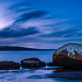 Winters stone by Marcus Holmqvist - Landscapes Waterscapes