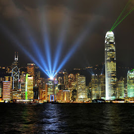 Symphony of Lights by Vinod Chauhan - City,  Street & Park  Night ( water, hong kong, harbour, sea, night, laser, seascape, best shot, nightscape )