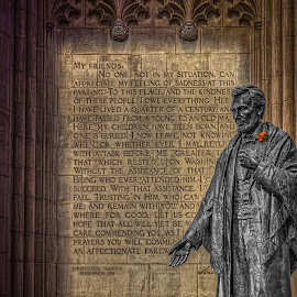 Abe at the National Cathedral by Izzy Kapetanovic - Buildings & Architecture Statues & Monuments ( dc, washington, statue, lincoln, national cathedral, architecture )